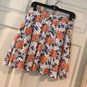Floral and Polka-Dot Skirt